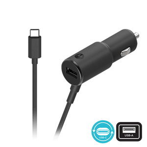 TurboPower 36W Dual connection Car Charger with attached USB-C cable and USB-A port